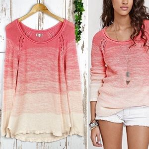 Kirra Ombré Dip Dye Eyelet Cotton Knit Sweater EUC